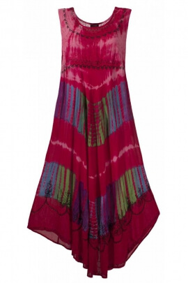 Dress comfortable beach, asymmetric and flexible crepe color Tie and Dye Long