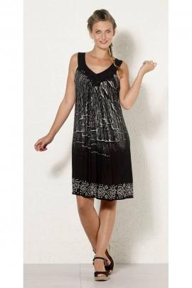 Robe d'été originale en crêpe extensible, motif ethnique noir et blanc, toutes tailles