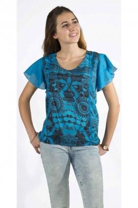 Blusa original, colorido, voile de algodón, ligero y forrado