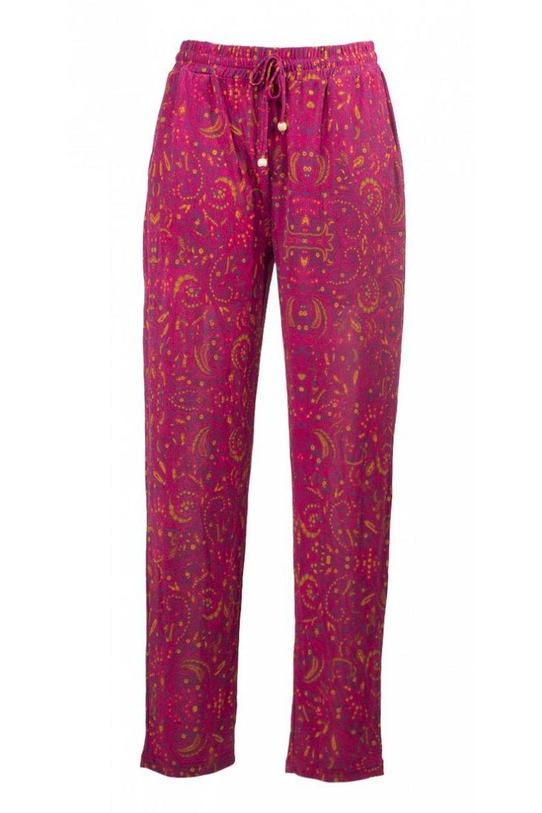 Pantalon carotte léger, en maille, imprimé gothique