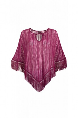 Poncho hippie chic original mesh net with laces before