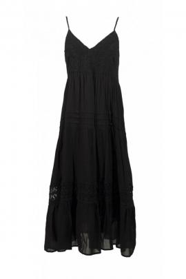 Robe longue décontractée unie, style bohème et romantique