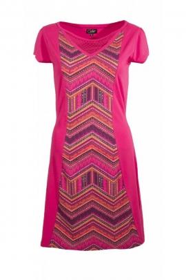 Jolie robe ballon décontractée, imprimé maya taille haute et haut extensible