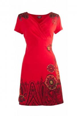 Robe courte légère et décontractée, en coton élasthanne, imprimé fleurs et cachemire
