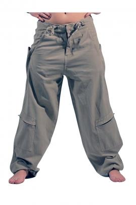 Pantalon large pour homme en coton, avec ceinture en lacet