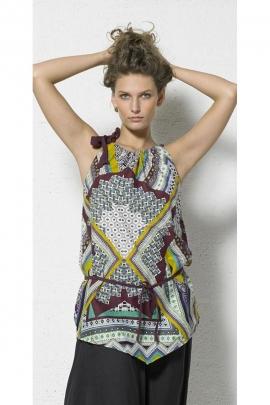 Tunique originale en coton popeline, imprimé ethnique et patchwork