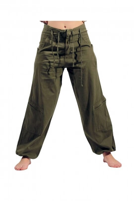 Men's cotton wide pants with lace belt