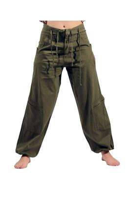 Men's cotton wide pants with lace belt