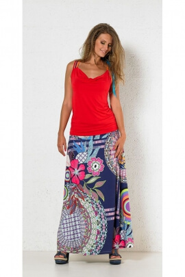 Extra long colorful skirt, large ethnic print patterns and flowers
