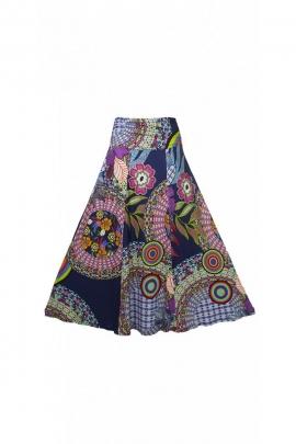 Jupe extra longue colorée, gros motifs imprimé ethnique et fleurie