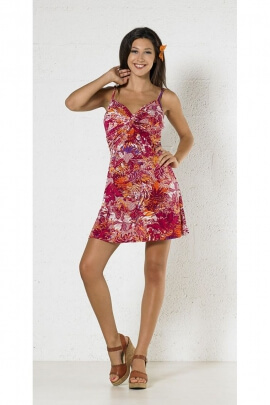 Pretty floral short dress with straps, knitted casual style