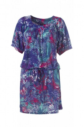 Robe courte fleurie en maille, style charleston, manches courtes