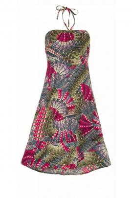Robe courte décontractée et originale, buste smocké au dos, avec des lacets en bretelles