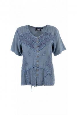 Bonita blusa, luz étnico, romántico y urbano, acabado lavado a la piedra