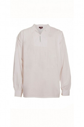 Chemise médiévale originale pour homme, style peintre, blanche en coton popeline