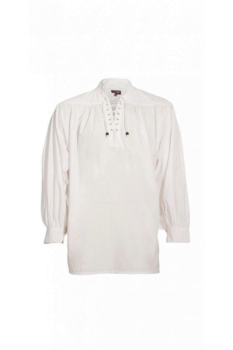 Camisa Popelina Medieval Hombres Algodón CordonesDe BlancosCon 0wOPkn
