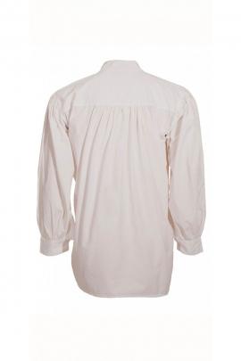 Chemise médiévale blanche pour homme, avec lacets, en coton popeline