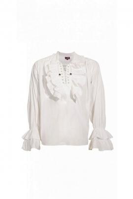 Chemise médiévale blanche, style mousquetaire, en coton popeline