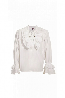 White medieval shirt musketeer style cotton poplin