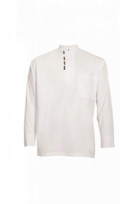 Chemise blanche originale style grand-père en coton popeline avec 3 boutons bois