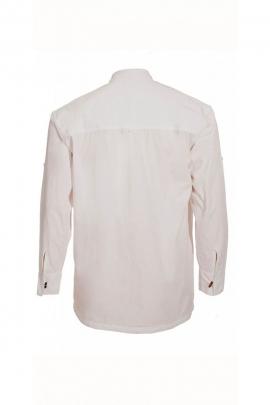 Camisa blanca de estilo original de su abuelo en algodón popelina con 3 botones de madera