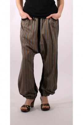 Striped harem pants for men, mid low crotch, relaxed style