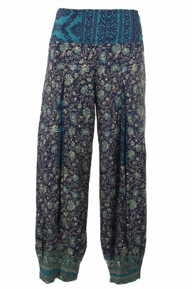 Ethnic Lightweight pants, printed sari in front bellows ornate legs