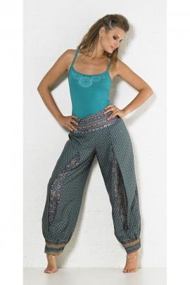 Pantalon léger ethnique, imprimé sari, devant des jambes ornés de soufflets