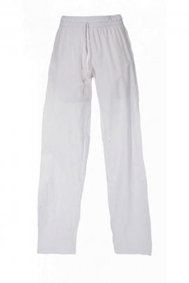 Pantalon fin et uni pour homme, finition stone wash, taille élastiquée, en coton