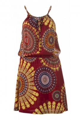 Mini robe de plage décontractée avec des lacets tour de cou
