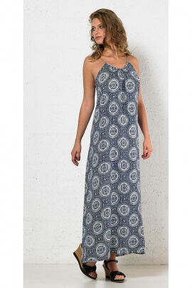 Fluid and colorful long dress, printed mandalas with braided collar