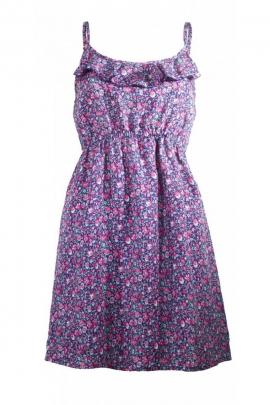 Mini robe urbaine, imprimé fleurs coloré, style romantique