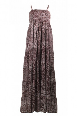 Long dress original printed cotton voile doubled to aboriginal motifs