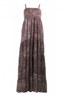 Robe longue imprimée originale, en voile de coton doublée, à motifs aborigènes