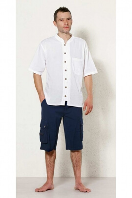 Bermuda shorts original for man, with pockets, cotton, finishing stone wash