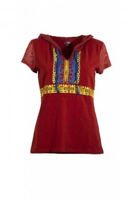 Tee-shirt en coton coloré et décontracté, avec capuche, style tissu dévoré