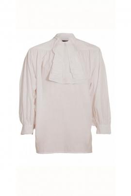 Volante clásico blanco, camisa medieval, para llevar al teatro o al cine