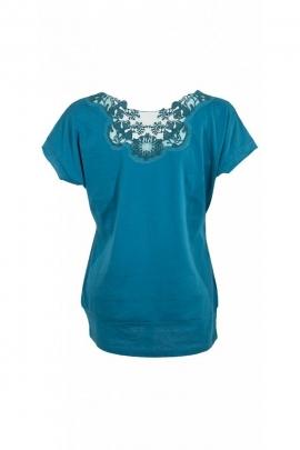 Joli tee-shirt bohème, imprimé fleuri, haut du dos en dentelle transparente