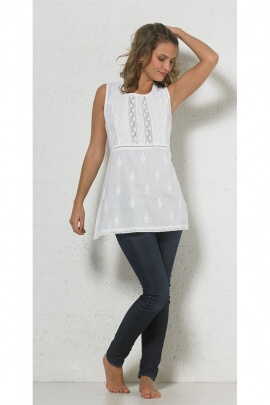 Tunic lightweight embroidered cotton sleeveless, very hippie chic