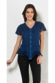 Romantic embroidered blouse with lace and stone wash asymmetrical base