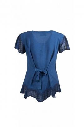 Blusa bordada, romántico, piedra de lavar con encaje y asimétrica de la parte inferior