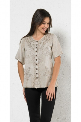 Blusa bordada, de estilo bohemio, original, tela, piedra de lavar, botones, coco