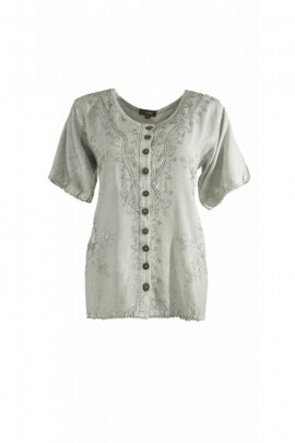 Embroidered blouse, original bohemian-style stone wash cloth, coconut buttons