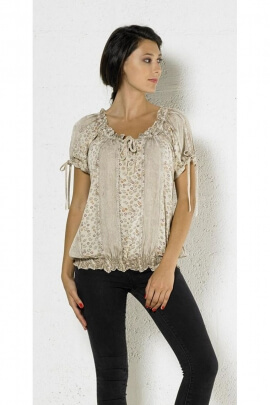 Original embroidered blouse and romantic, stone wash with lace sleeves and collar