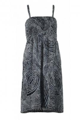 Mini robe originale à bretelles, haut smocké élastiqué, détails aborigènes, en viscose