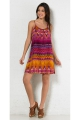 Casual short dress with straps, trapeze shape, psychedelic patterns