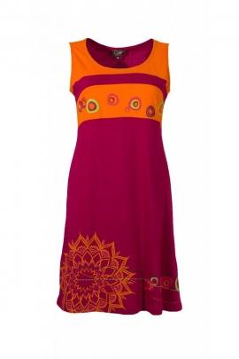 Robe courte ethnique colorée, sans manches tout en coton, motifs rosaces