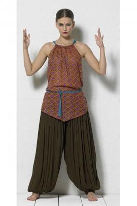 Tunique légère en coton avec lacets, imprimés losanges, style ethnique