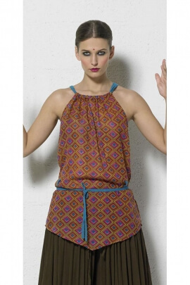 Light cotton tunic with lace, argyle print, ethnic style