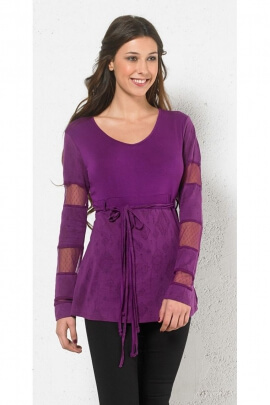 Original Tunic long sleeves, lace, cotton and polyester mesh